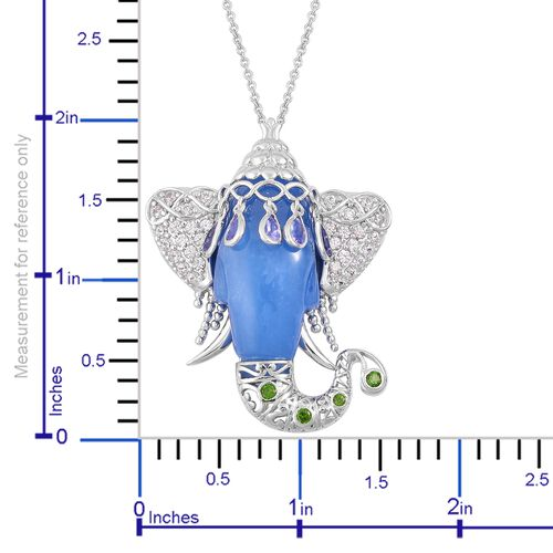 Blue Jade, Tanzanite, Russian Diopside and Natural White Cambodian Zircon Elephant Head Pendant With Chain (Size 30) in Platinum Overlay Sterling Silver 46.000 Ct.