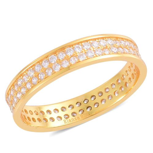 AAA Simulated White Diamond Band Ring in Yellow Gold Overlay Sterling Silver