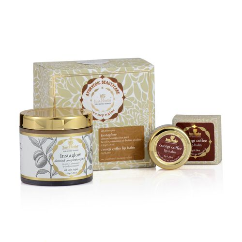 Just Herbs Instaglow Almond Complexion Pack (150g) and Coorgi Cofee Lip Smothening Salve (All Skin Types) (8g)