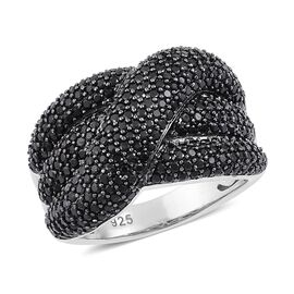 Red Carpet Collection-Boi Ploi Black Spinel Criss Cross Ring in Rhodium Plated Sterling Silver 7.500 Ct.