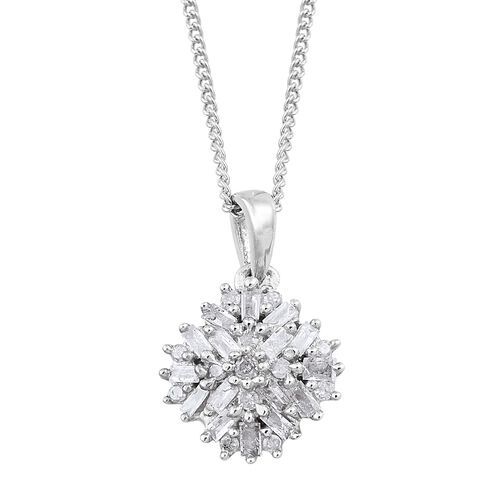Firecracker Diamond (Bgt and Rnd) Pendant With Chain in Platinum Overlay Sterling Silver 0.250 Ct.