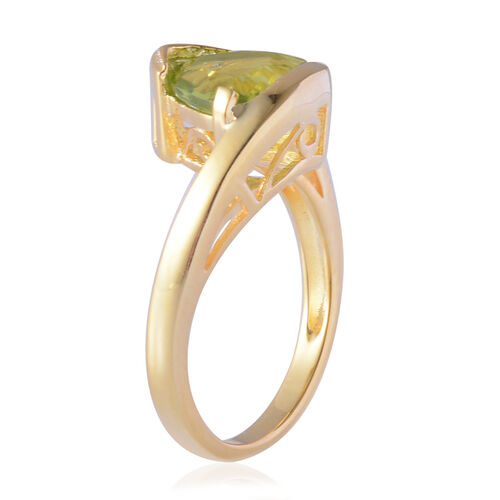 AA Hebei Peridot (Trl) Solitaire Ring in Yellow Gold Overlay Sterling Silver 2.500 Ct.