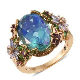 GP Peacock Quartz (Ovl), Rhodolite Garnet, Tanzanite and Kanchanaburi Blue Sapphire Ring in 14K Gold Overlay Sterling Silver 14.510 Ct.