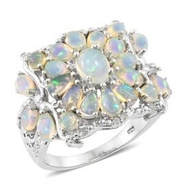 Ethiopian Opal (2.95 Ct) and Diamond Platinum Overlay Sterling Silver Ring  3.000  Ct.
