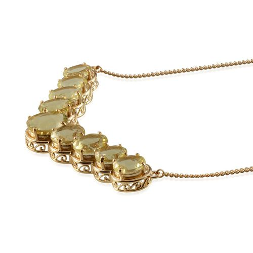 Brazilian Green Gold Quartz (Ovl 4.50 Ct) Necklace (Size 18) in 14K Gold Overlay Sterling Silver 20.500 Ct.