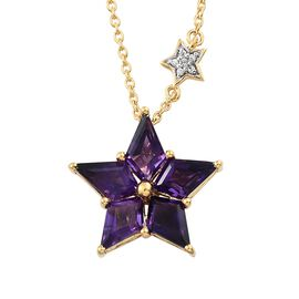 Limited Collection-GP Amethyst (Kite), Natural Cambodian Zircon and Kanchanaburi Blue Sapphire Star Pendant with Chain in 14K Gold Overlay Sterling Silver 5.500 Ct. Silver wt 5.45 Gms.