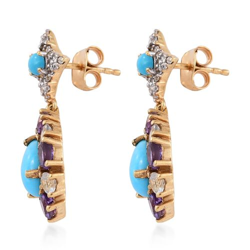 Arizona Sleeping Beauty Turquoise (Pear),  Amethyst and White Topaz Earrings (with Push Back) in 14K Gold Overlay Sterling Silver 5.750 Ct.