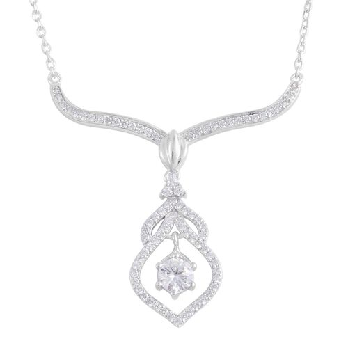 AAA Simulated White Diamond Necklace (Size 17) in Sterling Silver