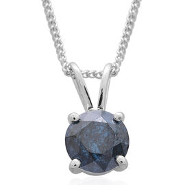 Cyber Weekend Finale Deal- Collectors Edition - 9K W Gold SGL Certified Rare Size Blue Diamond (Rnd)  Solitaire Pendant with Chain 1.000 Ct.