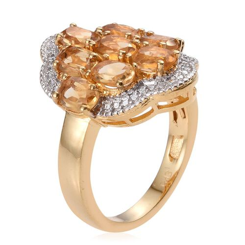 Citrine (Ovl) Ring in ION Plated 18K Yellow Gold Bond 4.000 Ct.