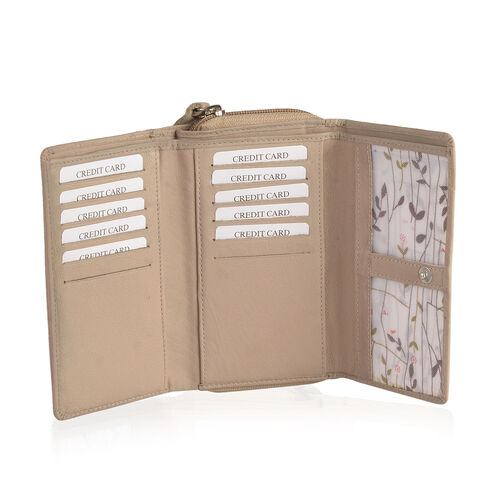 100% Genuine Leather RFID Blocker Beige Colour Wallet with Multiple Card Slots (Size 15.5X9.5X3.5 Cm)