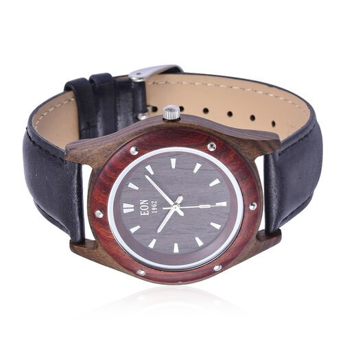 EON 1962 Sandalwood Watch with Black Genuine Leather Strap