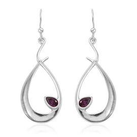 Rhodolite Garnet (Pear) Hook Earrings in Rhodium Plated Sterling Silver