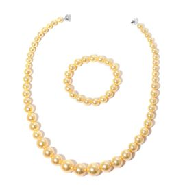 Graduated Golden Shell Pearl Necklace (Size 20) with Rhodium Plated Sterling Silver Magnetic Lock and Stretchable Bracelet (Size 7.5)