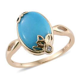 Kimberley 9K Yellow Gold Arizona Sleeping Beauty Turquoise (Ovl), Diamond Ring 5.030 Ct.
