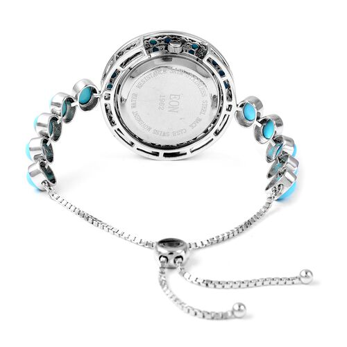 EON 1962 Swiss Movement Arizona Sleeping Beauty Turquoise Studded 3ATM Water Resistant Bracelet Watch (Size 6.5 to 8) in Sterling Silver and Stainless Steel 8.100 Ct. Silver wt 11.95 Gms.