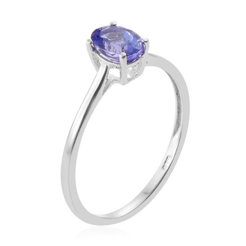 Tanzanite 0.60 Ct Silver Solitaire Ring in Platinum Overlay