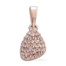 9K Rose Gold 0.15 Ct. Natural Pink Diamond (Rnd) Cluster Pendant