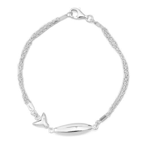 Sterling Silver Fish Bracelet (Size 7.5), Silver wt 5.62 Gms.