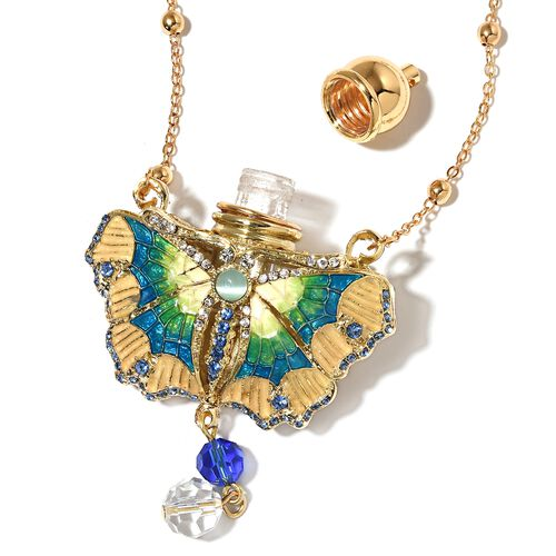 Turkish Style Perfume Bottle Butterfly Necklace (Size 27) with Multi Colour Crystals in Yellow Gold Tone