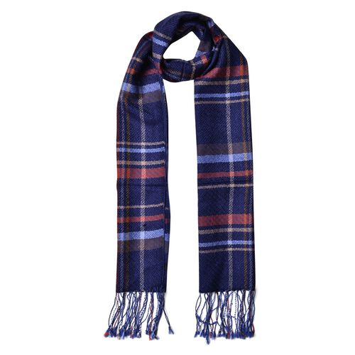 100% Wool Navy, Red and Multi Colour Checks Pattern Scarf with Tassels (Size 180X47 Cm)