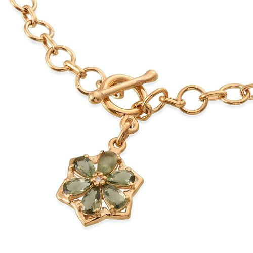 Bohemian Moldavite (Pear), Diamond Floral Charm Bracelet (Size 7.5) in 14K Gold Overlay Sterling Silver 0.760 Ct.