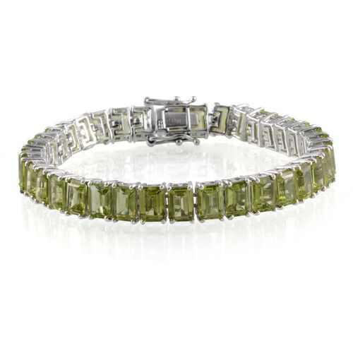 Hebei Peridot (Oct) Bracelet in Platinum Overlay Sterling Silver (Size 7.5) 35.000 Ct.