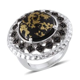 Goldenite (Rnd 6.75 Ct), Boi Ploi Black Spinel Ring in Platinum Overlay Sterling Silver 7.000 Ct.