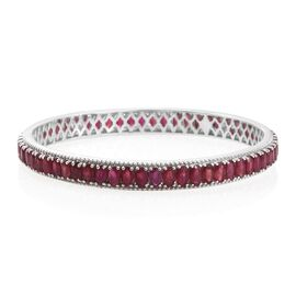 Designer Inspired- AAA African Ruby (Ovl) Bangle (Size 7 / Medium) in Platinum Overlay Sterling Silver 20.750 Ct.
