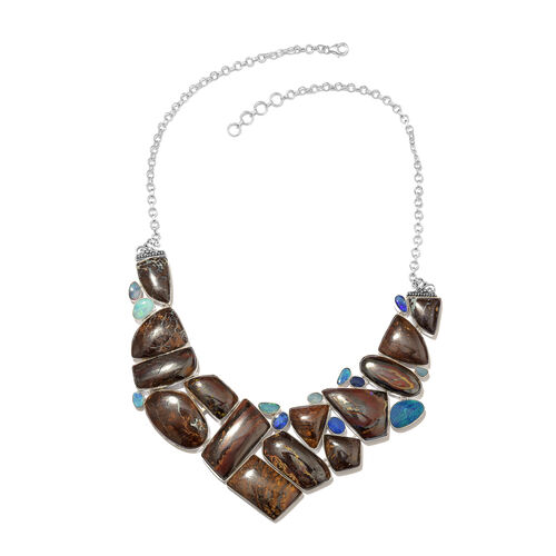 One Off A Kind- Boulder Opal Rock and Opal Double Necklace (Size 18 with 1 inch Extender) in Sterling Silver 481.300 Ct. Silver wt. 43.34 Gms.