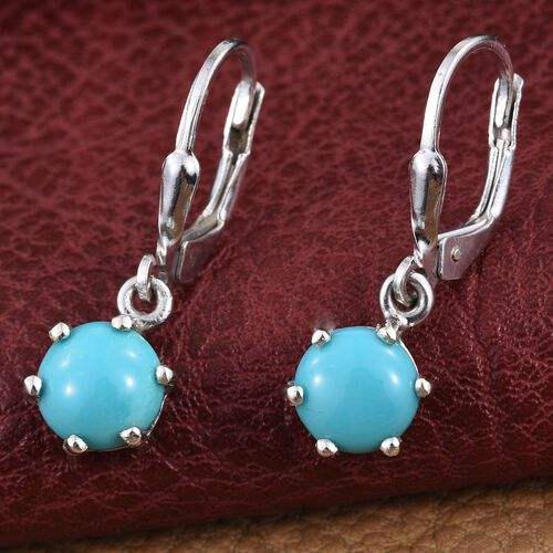 Arizona Sleeping Beauty Turquoise (Rnd) Lever Back Earrings in Platinum Overlay Sterling Silver 2.250 Ct.