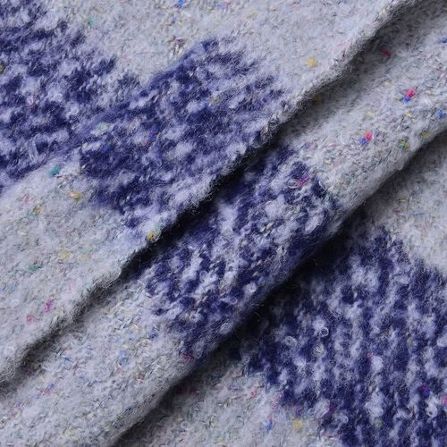 New Season-Grey and Blue Colour Knitted Shawl with Tassels (Size 200X65 Cm)