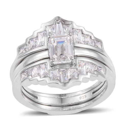 J Francis - Platinum Overlay Sterling Silver (Oct) 2 Ring Set Made with SWAROVSKI ZIRCONIA