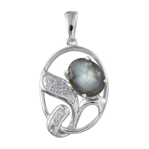 Labradorite (Ovl 3.50 Ct), White Topaz Pendant in Platinum Overlay Sterling Silver 3.750 Ct.