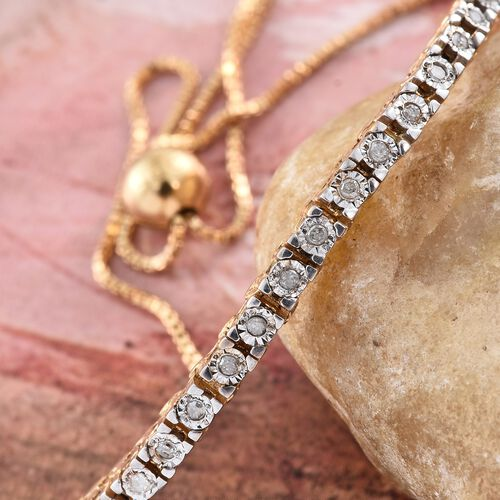 GP Diamond (Rnd), Kanchanaburi Blue Sapphire Adjustable Bracelet (Size 6.5 to 8) in 14K Gold Overlay Sterling Silver 0.130 Ct.