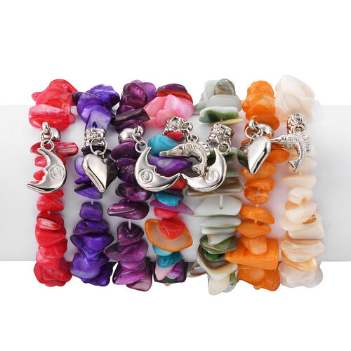 Set of 7 - White, Orange, Green, Red, Purple, Violet and Multi Colour Shell Stretchable Bracelet (Size 7) with Fish, Moon and Heart Charm in Silver Tone
