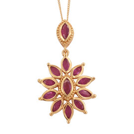 African Ruby (2.50 Ct) 14K Gold Overlay Sterling Silver Pendant With Chain  2.500  Ct.