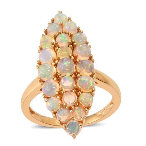 Ethiopian Welo Opal (Rnd) Ring in 14K Gold Overlay Sterling Silver 2.500 Ct.