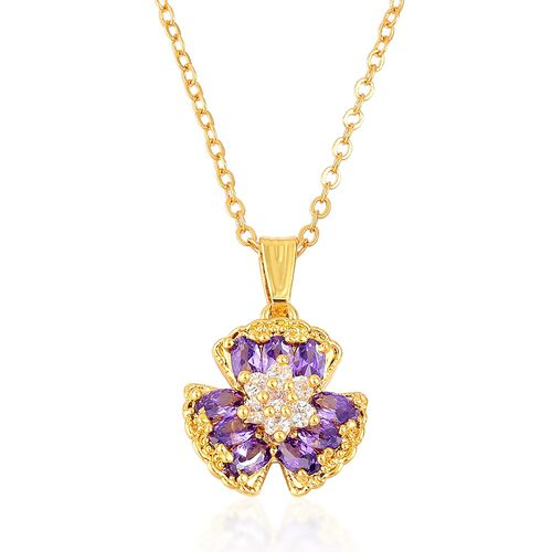 AAA Simulated Amethyst and Simulated White Diamond Shamrock Pendant With Chain (Size 22) and Earrings (with Clasp)  Yellow Gold Plated
