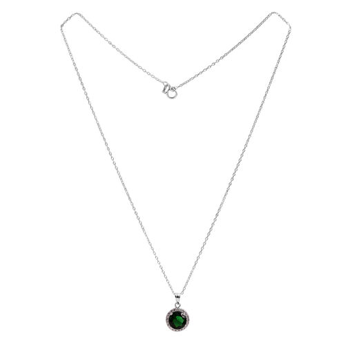 Close Out Deal ELANZA AAA Simulated Emerald (Rnd), Simulated White Diamond Pendant With Chain (Size 18) in Rhodium Plated Sterling Silver