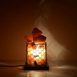Natural Pink Himalayan Rock Salt Basket Lamp - With 1.6KG Salt Bag - Cube
