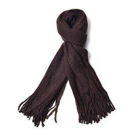 Dark Brown Colour Scarf with Sequins and Tassels (Size 160x60 Cm)