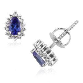 RHAPSODY 0.65 Ct AAAA Tanzanite and Diamond (VS/E-F) Halo Stud Earrings in 950 Platinum (with Screw Back)