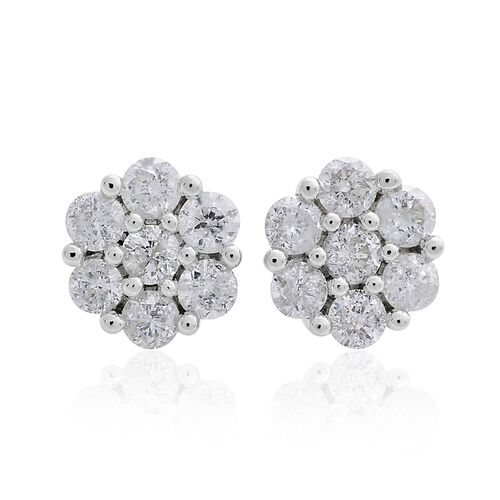 NEW YORK CLOSE OUT DEAL - 14K W Gold White SGL Certified Diamond (Rnd) (I2/G-H) Floral Stud Earrings (with Screw Back) 1.000 Ct.