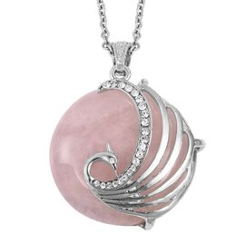 Rose Quartz (Rnd 65.25 Ct), White Austrian Crystal Peacock Pendant with Chain (Size 28) in Silver Tone 65.750 Ct.