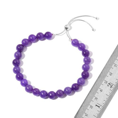One Time Deal-Burmese Purple Jade Ball Beads BOLO Bracelet (Size 6.5 to 9.5) in Rhodium Plated Sterling Silver 90.000 Ct.