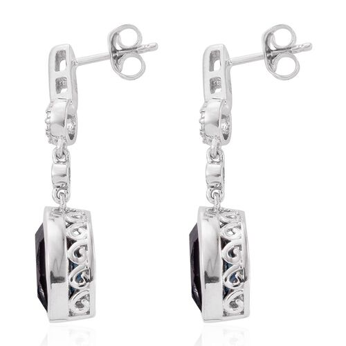 Indicolite Quartz (Mrq), Diamond Earrings (with Push Back) in Platinum Overlay Sterling Silver 4.000 Ct.