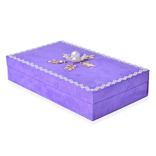 Handcrafted Lacy Border and Flower Embellished Purple Colour Velvet Jewelry Box with Mirror Inside (Size 25.5X15X6 Cm)