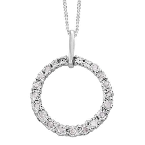 Designer Inspired - Diamond (Rnd) Circle of Life Pendant with Chain in Platinum Overlay Sterling Silver 0.150 Ct.