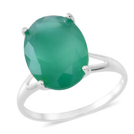 Verde Onyx (Ovl) Solitaire Ring in Sterling Silver 6.500 Ct.